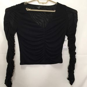 Guess Women's Long Sleeve V-Neck Crop Top Sz L L36